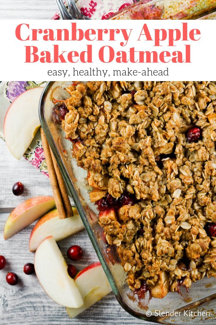 Baked Apple cranberry oatmeal in a glass baking dish.