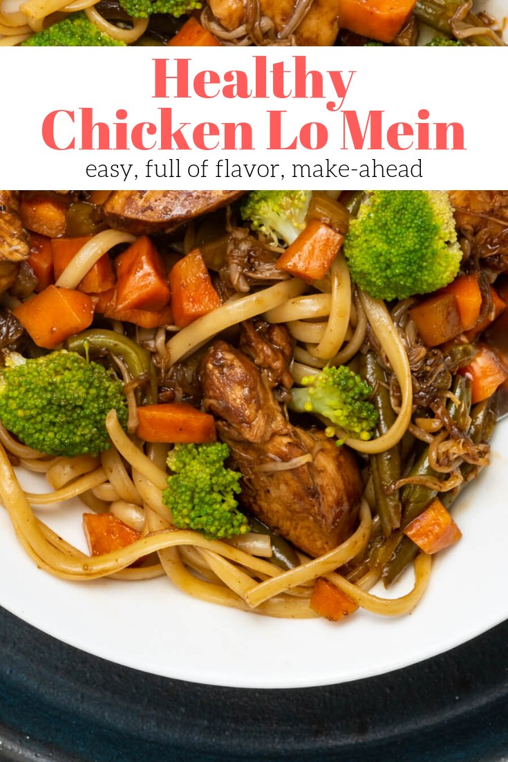 A healthier lo mein with chicken, broccoli, carrots, and spaghetti noodles on a plate.