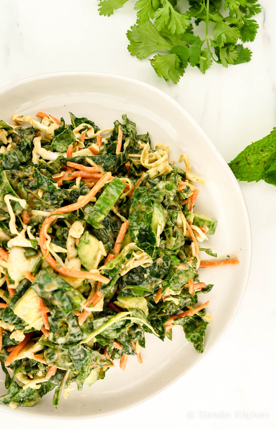 Kale Apple Slaw on a white plate with fresh herbs.