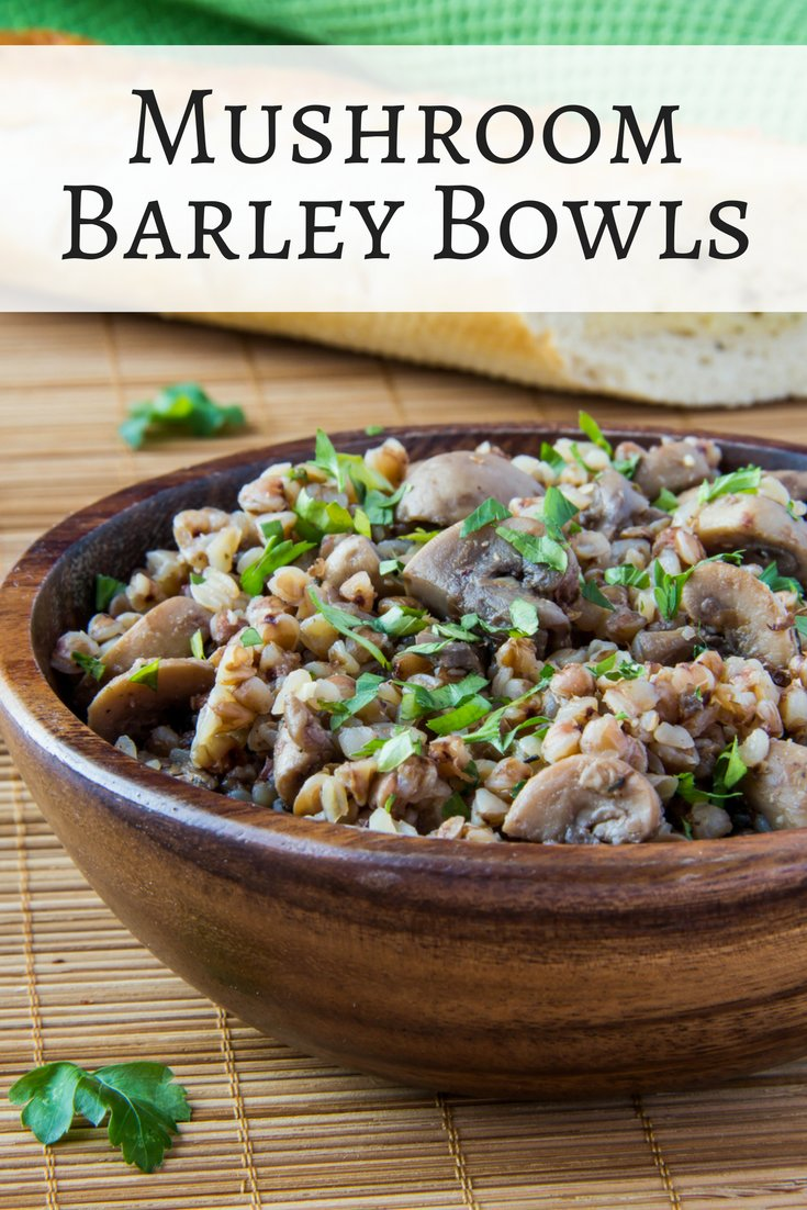 These hearty vegetarian Mushroom Barley Bowls make a hearty and filling meatless main course or side dish plus it only gets better after a night in the fridge.