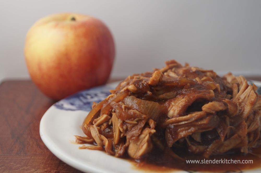 Sunday Slow Cooker Apple Bbq Pulled Turkey Slender Kitchen