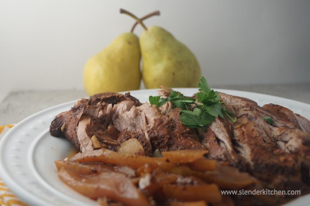 Sunday Slow Cooker Balsamic Honey Pork Tenderloin With Pears