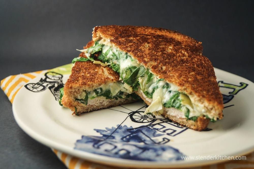 Spinach Artichoke Grilled Cheese - Slender Kitchen