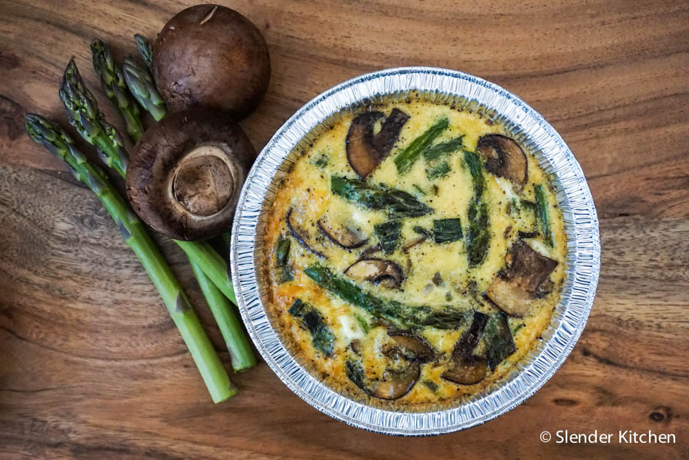 Asparagus and Mushroom Quinoa Frittatas served with fresh fruit