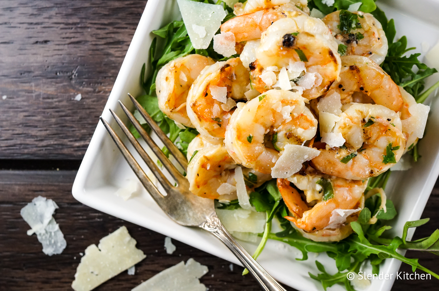 Garlic Parmesan Shrimp in a white bowl.