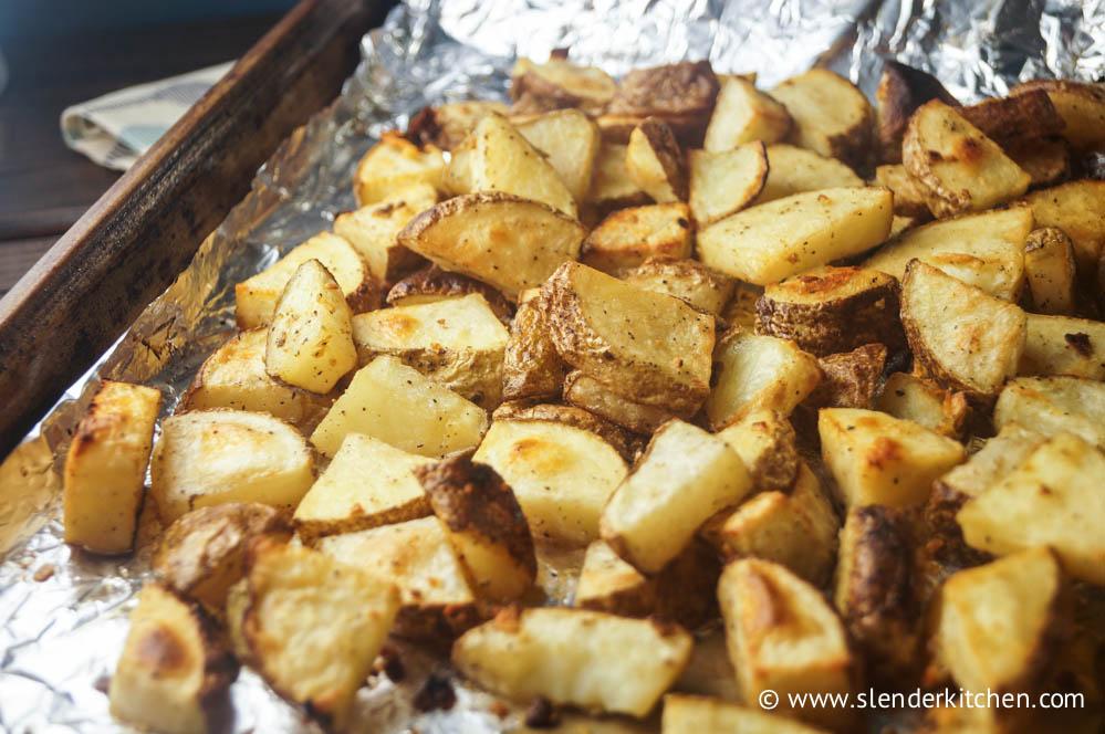 Simple Garlic Roasted Potatoes - Slender Kitchen