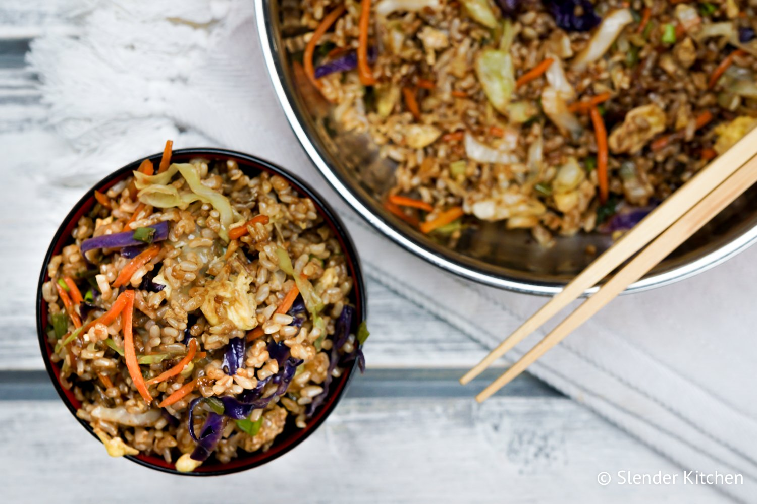 Healthy fried rice slender kitchen healthy fried rice made with cooked brown rice eggs and cabbage tastes just like forumfinder Choice Image