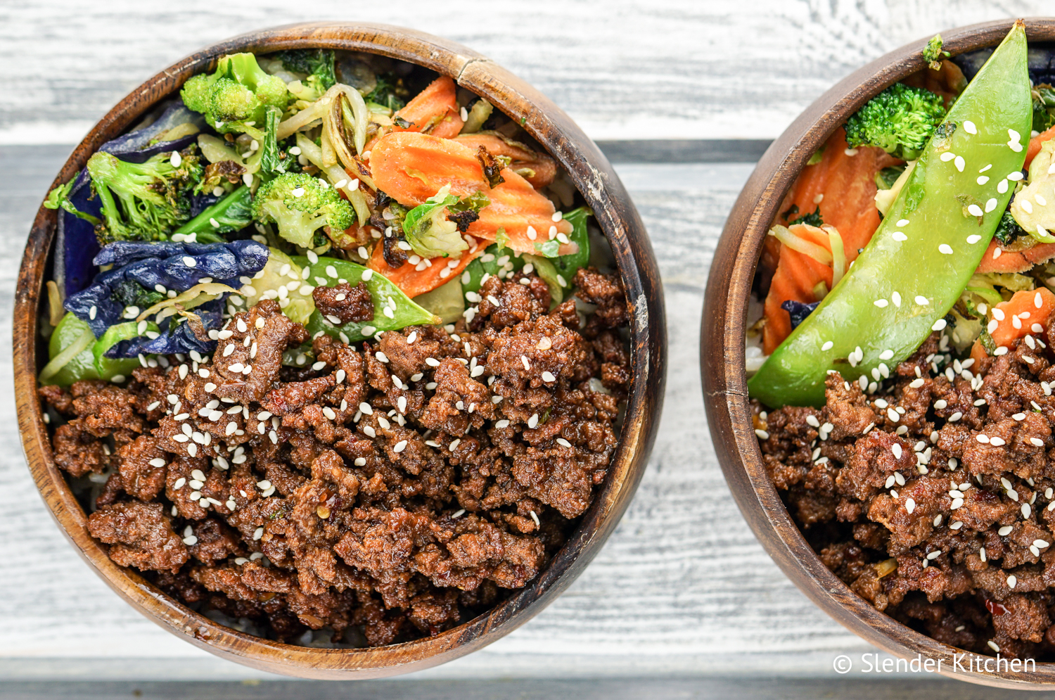 Vegetarian korean bowls slender kitchen vegetarian korean bowls are filled with veggies edamame vegetarian ground meat and a forumfinder Gallery