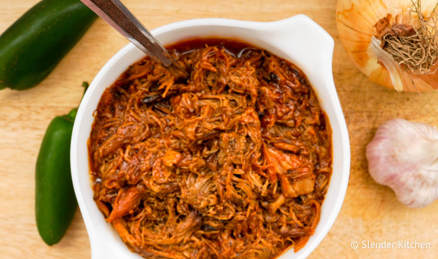 Low Carb Slow Cooker Spicy Pulled Pork - Slender Kitchen