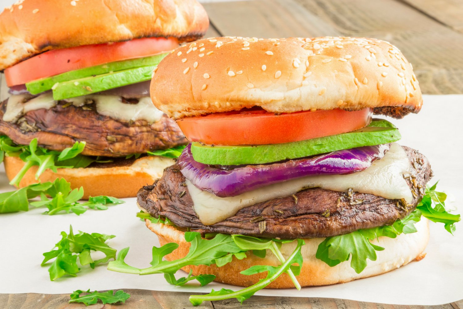 Grilled Portobello Burgers with Swiss Cheese and Avocado