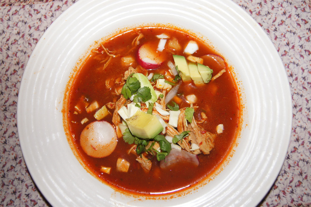 Red Chicken Pozole - Slender Kitchen