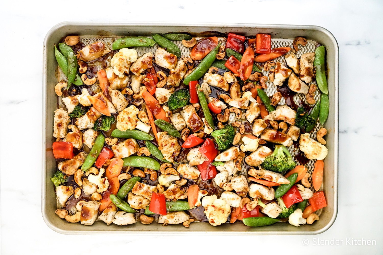 Healthy Meal Plan dinner of Sheet Pan Thai Chicken and Veggies.