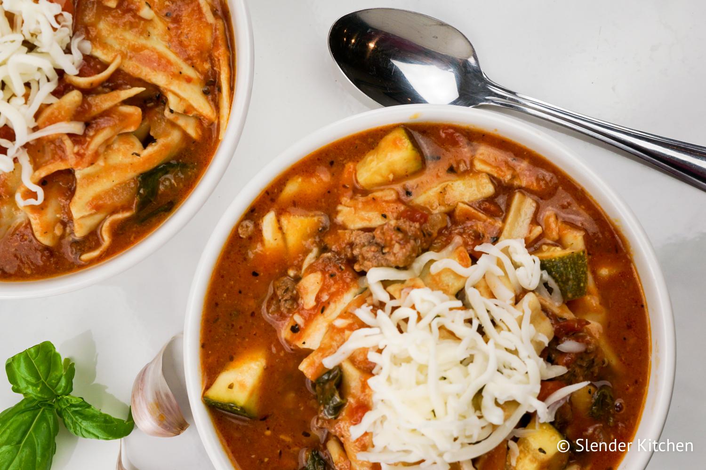 healthy slow cooker lasagna soup - slender kitchen