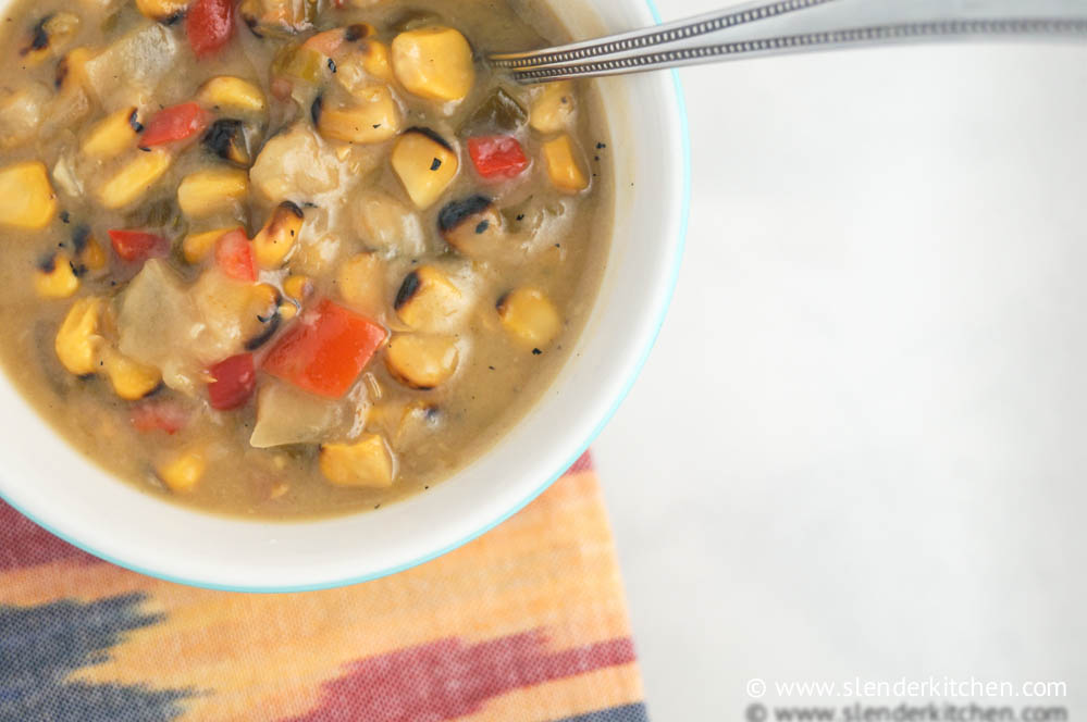 Sunday Slow Cooker Roasted Corn Chowder - Slender Kitchen