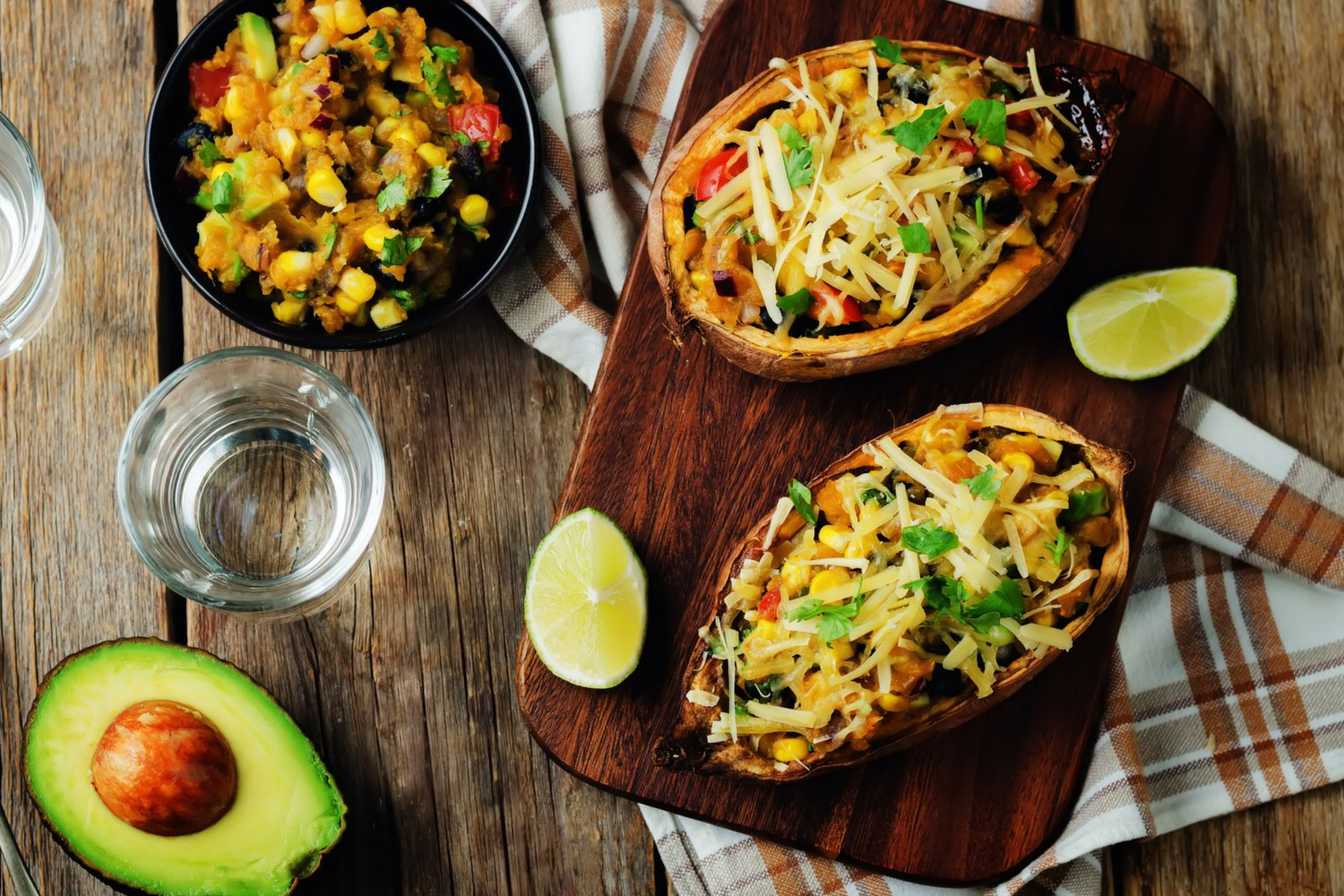 Healthy meal plan with Southwest Stuffed Sweet Potatoes for lunch.