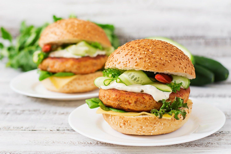 Tilapia fish burgers slender kitchen for Fish burger recipe