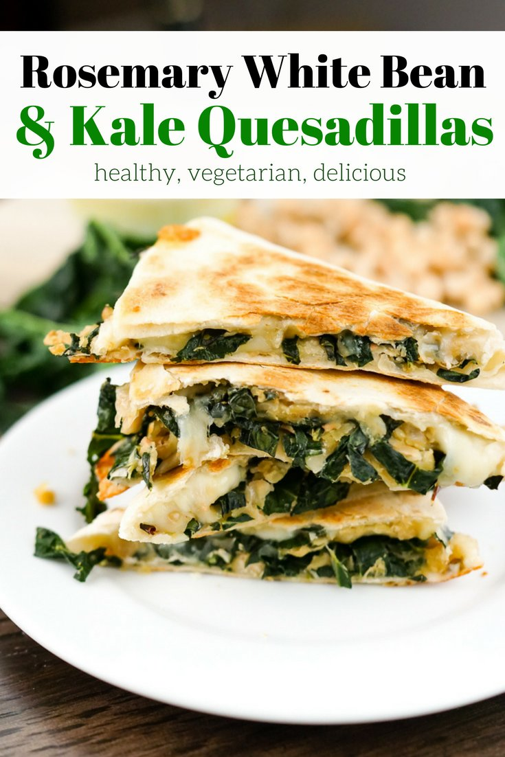 Rosemary White Bean and Kale Quesadillas make an insanely delicious lunch or dinner and are packed with protein and fiber for a healthy meal.