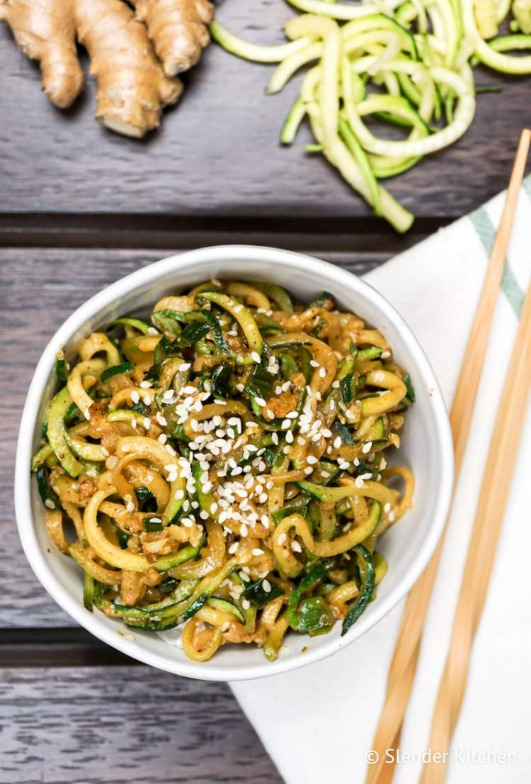 Asian Sesame Zucchini Noodles with ginger and raw zucchini.