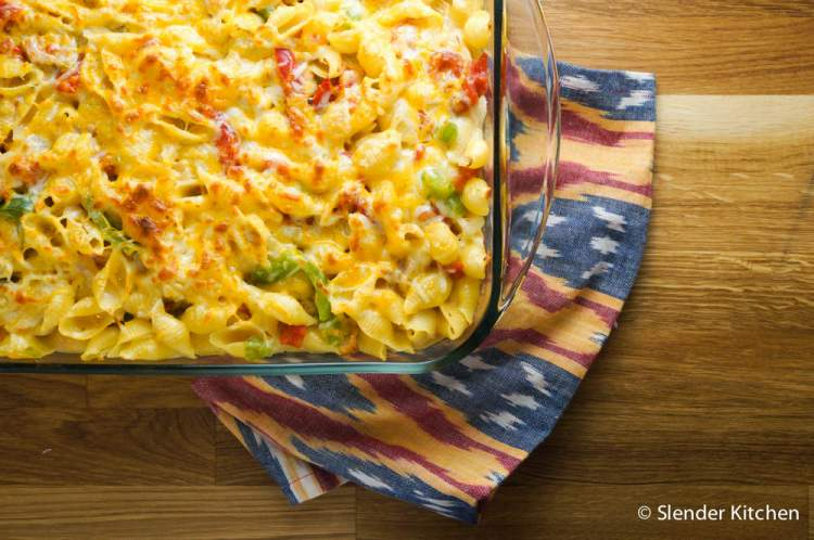 Baked Chicken and Cheese Enchilada Pasta