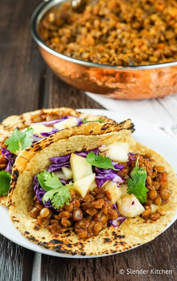 Barbecue Lentil tacos with pineapple.