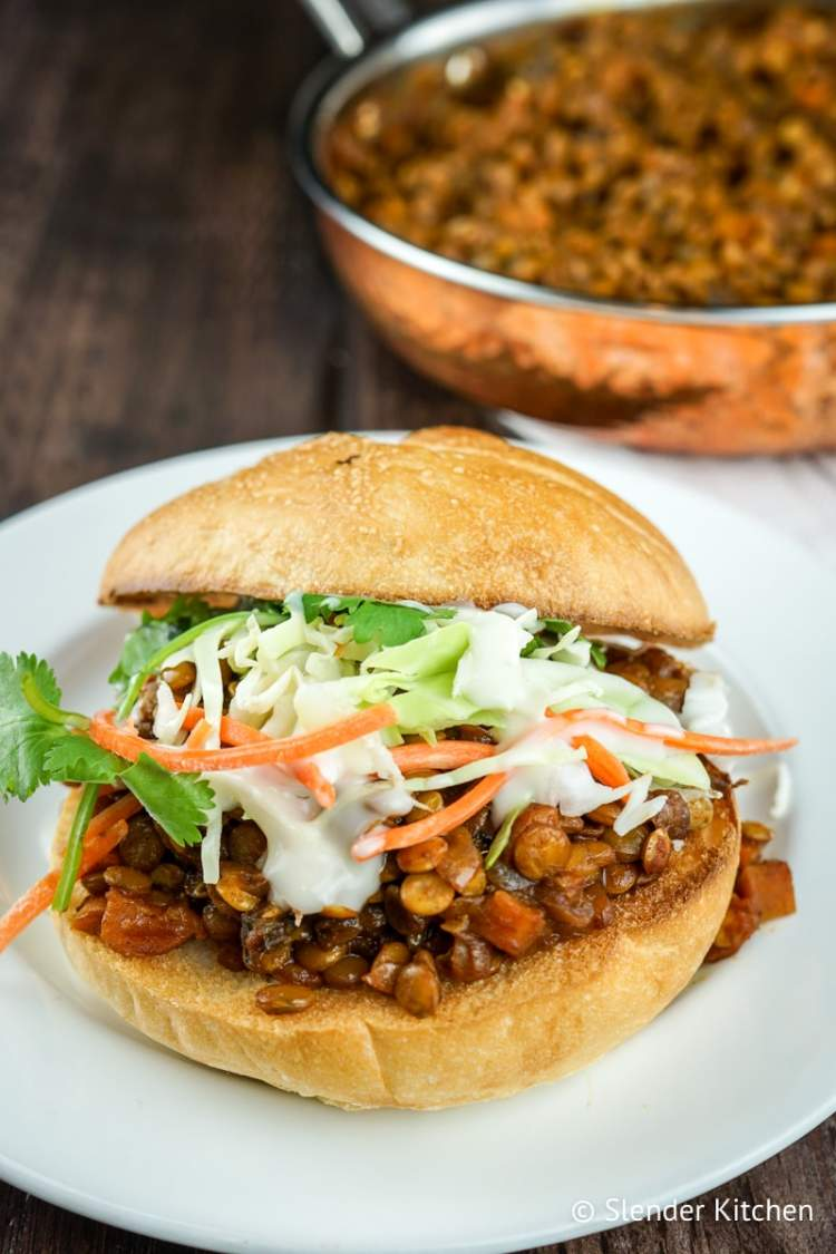 Barbecue Lentil sandwiches with coleslaw and ranch.