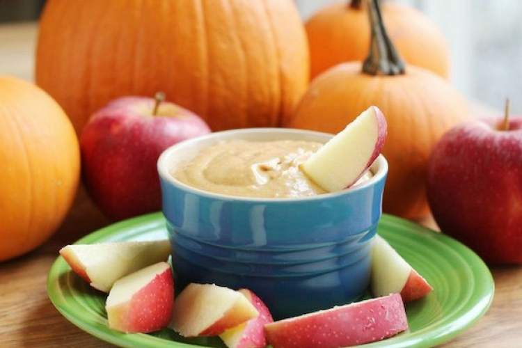 Easy Pumpkin Cream Cheese Dip with fresh apples.