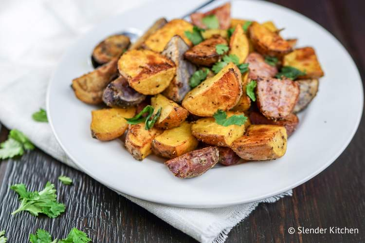 Easy Roasted Potatoes that are ready in 20 minutes and cooked with Dijon mustard.