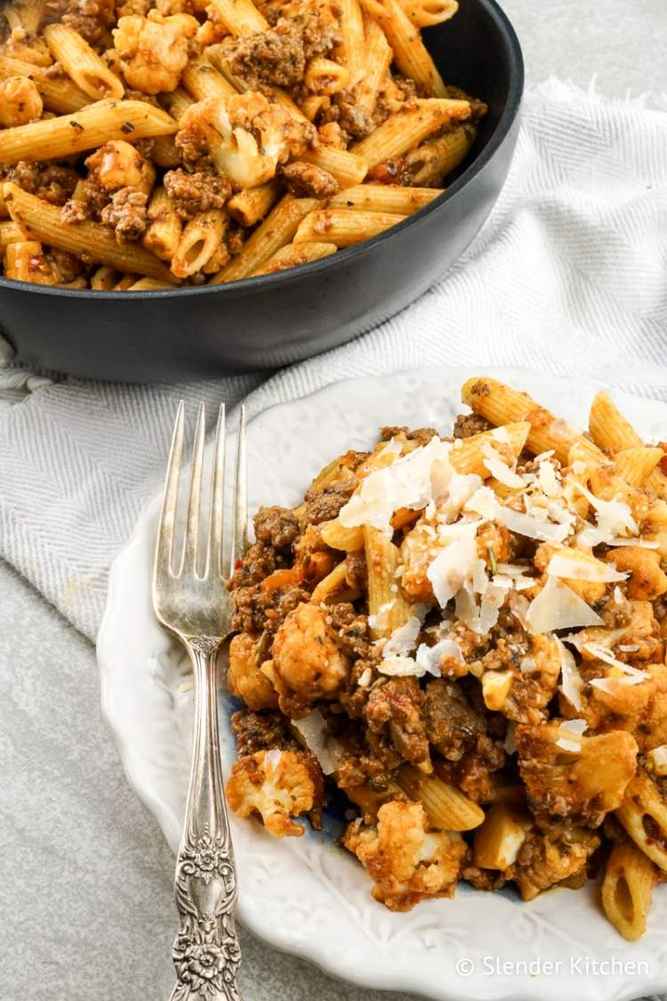 Garlic Cauliflower and Sausage Pasta takes only 20 minutes for a healthy dinner.