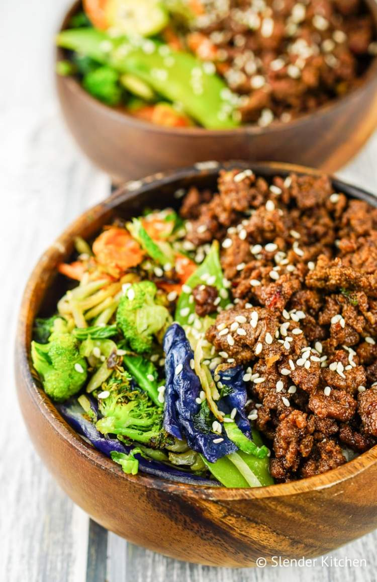 Healthy Korean Ground Beef with Vegetables served with brown rice.
