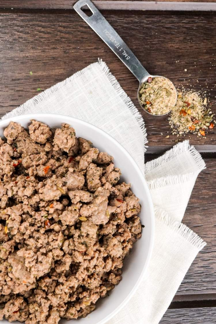 Homemade Italian Sausage Seasoning with ground beef.
