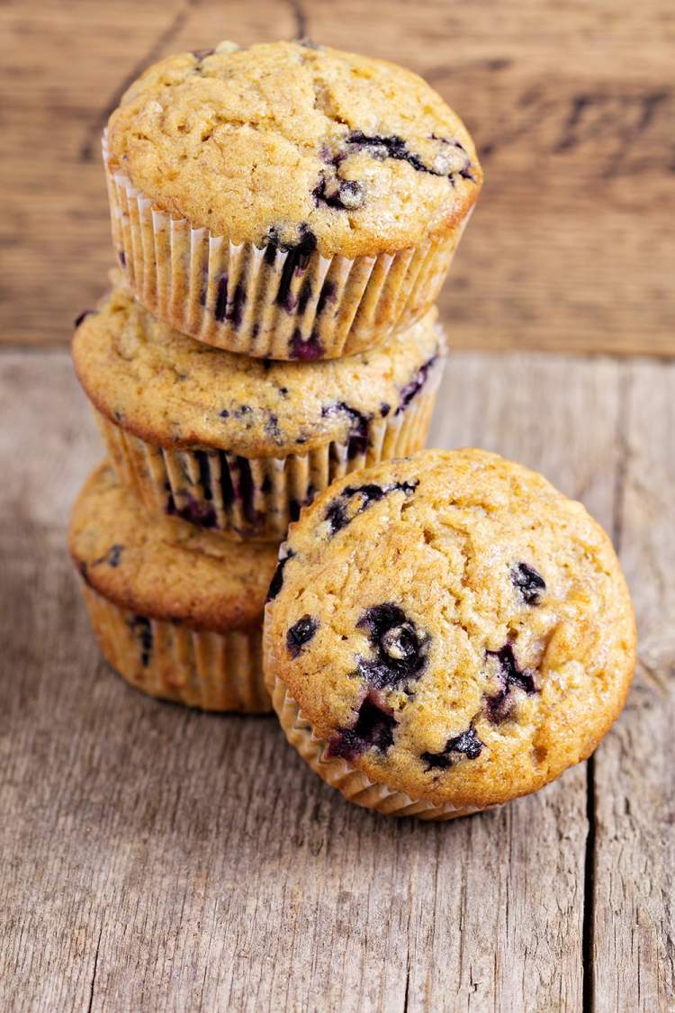 Jumbo Blueberry Oat Muffins packed with fresh blueberries and oats.