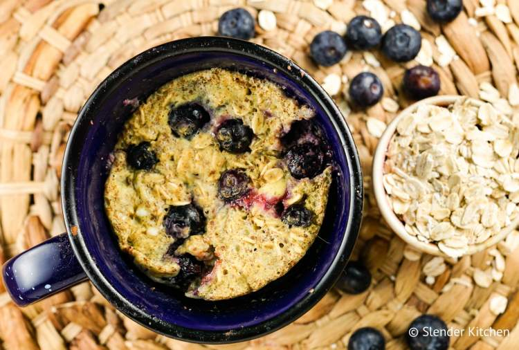 These Microwave Blueberry Oatmeal Muffins are ready in under five minutes and packed with good for you ingredients for a quick and healthy breakfast.