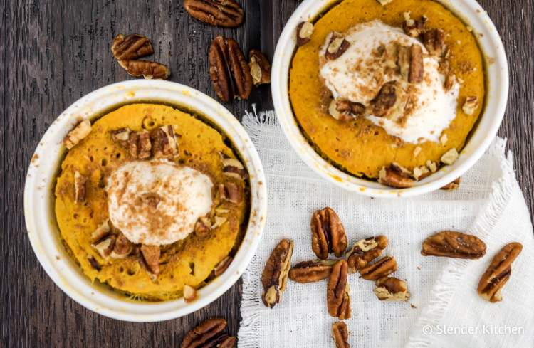 Microwave Pumpkin Custard on a wooden background