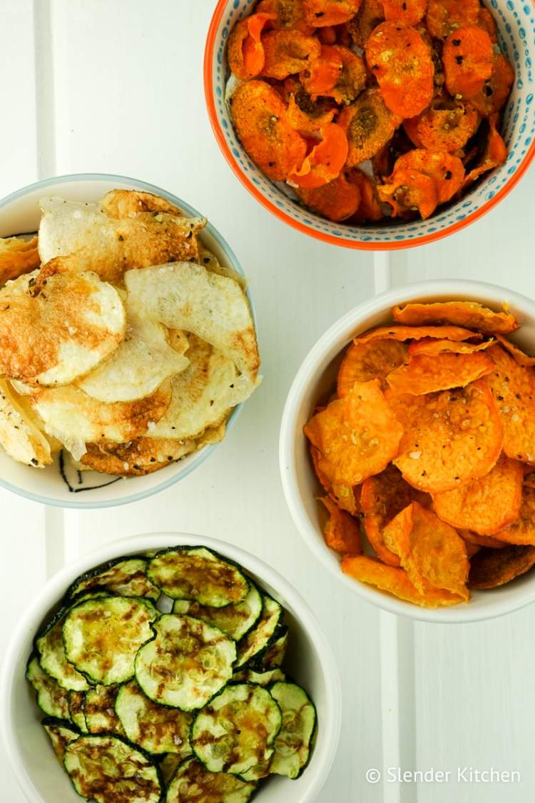 Microwave veggie chips slender kitchen microwave vegetable chips with carrots zucchini potato and sweet potato forumfinder Choice Image