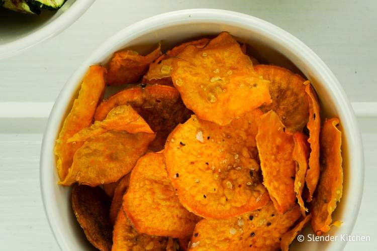 Microwave Veggie Chips made with sweet potatoes.