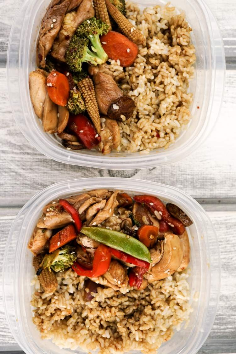 Sheet Pan Asian Chicken Stir Fry packed up for meal prep.