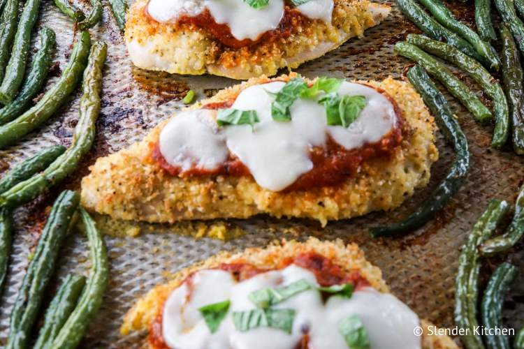 Sheet Pan Healthy Chicken Parm can be served with pasta or spaghetti squash.
