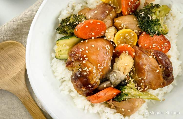 Crockpot Chicken Teriyaki and Vegetables with white rice and vegetables.