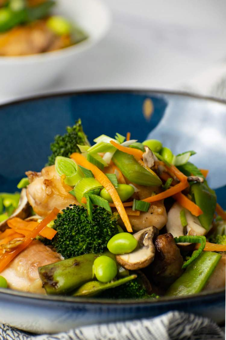 Soy chicken in a blue bowl with vegetables and a spoon.