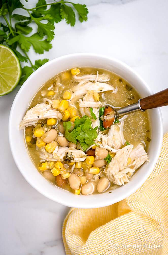 Weight Watchers Chili with beans, chicken, and corn with cilantro and lime.