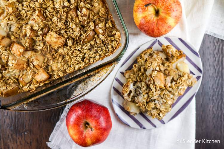 Make Ahead Baked Cinnamon Apple Oatmeal is hearty and filling.