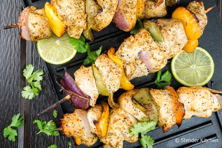 Grilled Cilantro Lime Chicken Kabobs make a delicious Weight Watcher friendly meal.