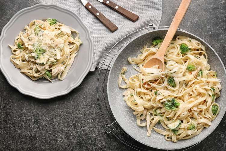 Frozen chicken and broccoli pasta with creamy Parmesan sauce.