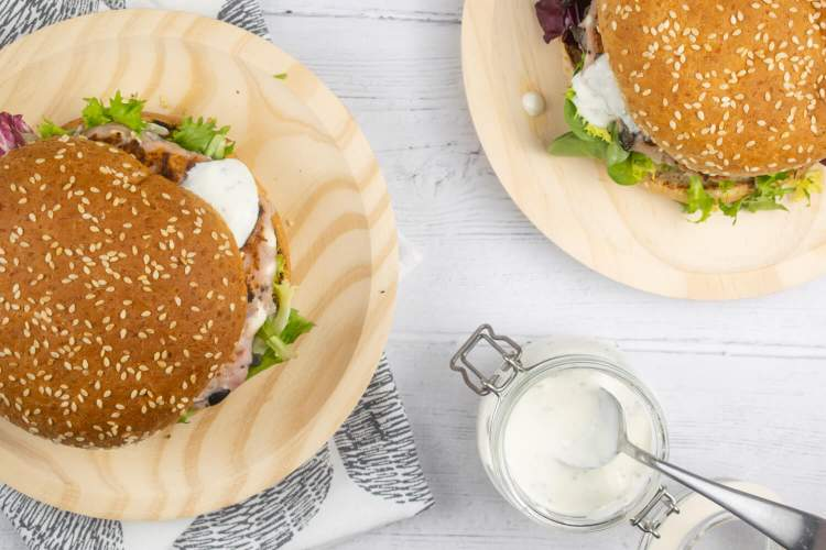 Greek Turkey Burgers with olives and feta on a sesame roll for dinner in this week