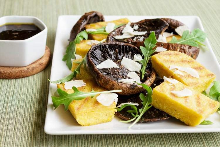 Grilled Balsamic Mushrooms and Polenta