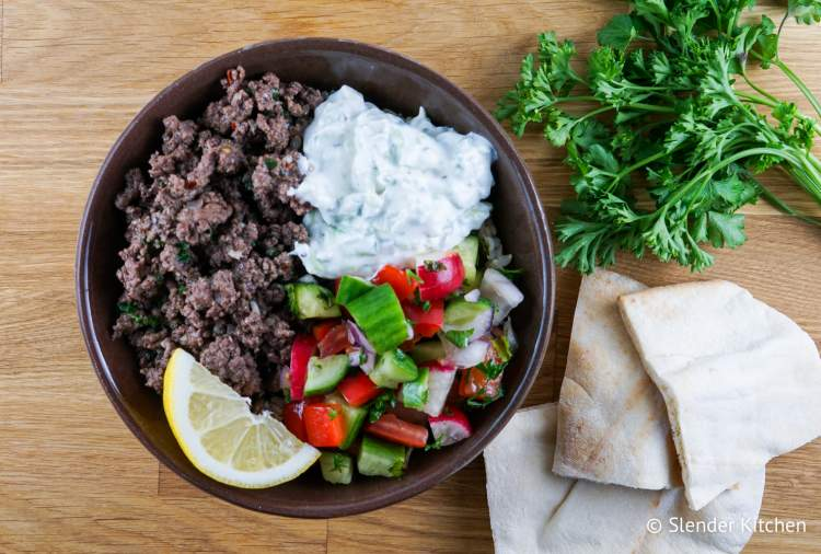 Kofta Ground Beef Bowls with Tzaztiki for lunch in the healthy meal plan.