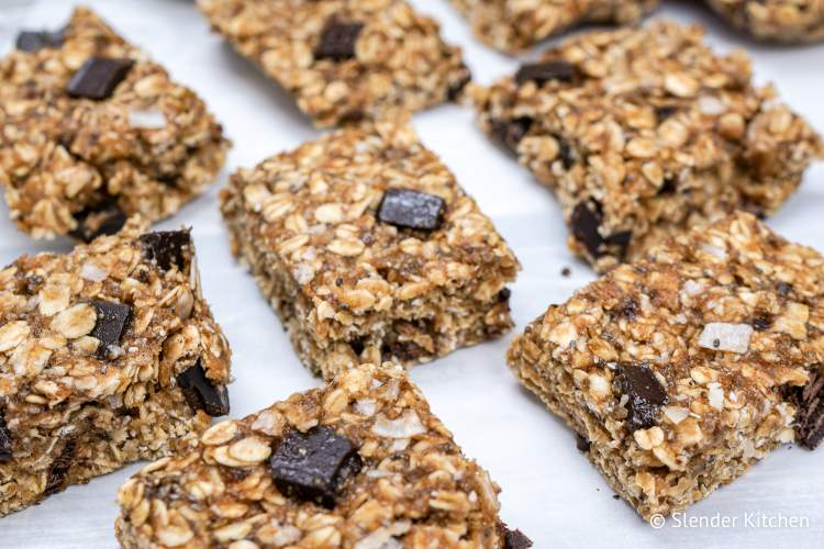 Flaxseed recipe for banana oat bars with chocolate chips and flax seeds.