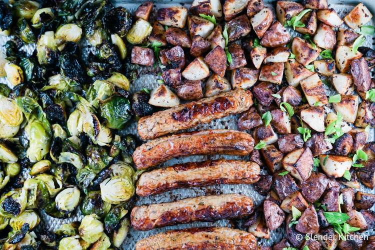 Roasted Brussel sprouts with sausages and potatoes.