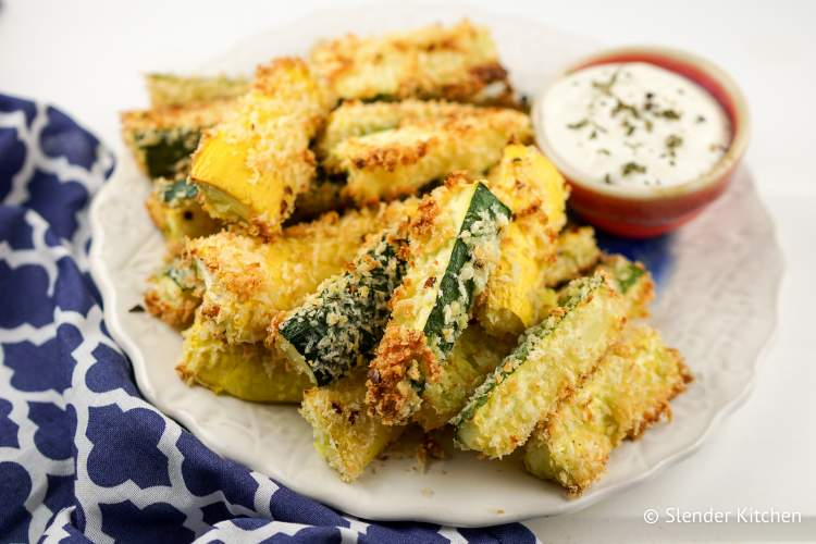 Yellow squash recipe for baked fries with Parmesan cheese and panko breadcrumbs.