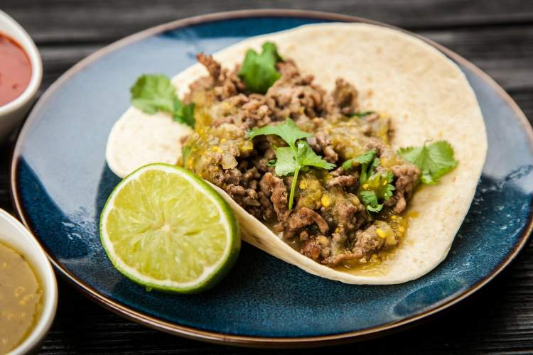 Ground Turkey Tacos with Salsa Verde all made in under 15 minutes.